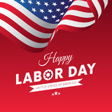 Happy Labor Day. Red gradient background. Waving flag. White Ribbon. Vector. Royalty Free Stock Photos
