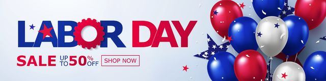 Free Happy Labor Day Sale Long Horizontal Banner. USA Festive Design With Helium Balloons In National Colors Of American Flag And Stars Stock Photography - 156065452