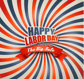 Happy Labor Day Sale Retro Background. stock images