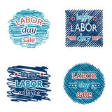 Happy labor day sale. Set of badges and labels on scribble background. Stock Photography