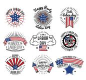 Happy labor day on September 7th in USA. Festive logotypes with national flag, big stars and firework rockets isolated cartoon vector illustrations on white Stock Photography