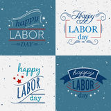 Happy Labor day. Set of badges and labels on grunge background. Royalty Free Stock Photography