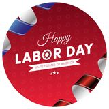 Happy Labor Day sticker or banner. Red gradient background. Waving flag. Red and blue gradient ribbons. Gears background. Vector i. Happy Labor Day sticker or Stock Illustration