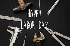 Free Happy Labor Day Text Sign. Tools For Repairing And Renovation Co Royalty Free Stock Images - 115615539