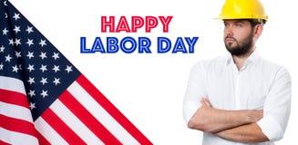 Happy Labor Day. USA flag. Man on white background royalty free stock photo