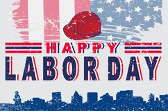 Happy American Labor Day  typography poster design. Happy American Labor Day grunge with the American Campus style design royalty free illustration