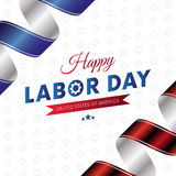 Happy Labor Day. White background. Waving flag. Red and blue gradient ribbons. Gears background. Vector. Stock Image