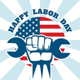 Happy Labor Day and workers right vector poster Royalty Free Stock Image