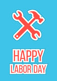 Happy labor day with wrench and hammer. On blue background. flat style poster design modern vector illustration Royalty Free Stock Photo