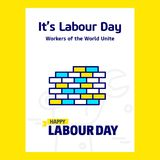 Happy Labour day design with blue and yellow theme vector with b Stock Photography