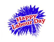 Happy Labour Day Graphic Logo. With fireworks and text elements stock illustration