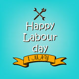 Happy Labour day. 1 May. Happy Labour day. blue background. Vector illustration Stock Photos