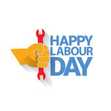 Happy labour day vector label. With strong orange fist isolated on white background. vector happy labor day background or banner with man hand. workers day Royalty Free Stock Photo