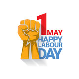 Happy labour day vector label. With strong orange fist isolated on white background. vector happy labor day background or banner with man hand. workers day Stock Photography