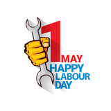 Happy labour day vector label. With strong orange fist isolated on white background. vector happy labor day background or banner with man hand. workers day Royalty Free Stock Image