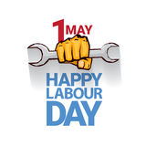 Happy labour day vector label. With strong orange fist isolated on white background. vector happy labor day background or banner with man hand. workers day Royalty Free Stock Photography