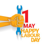 Happy labour day vector label. With strong orange fist isolated on white background. vector happy labor day background or banner with man hand. workers day Stock Photos