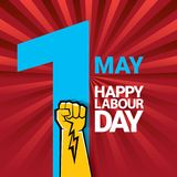 Happy labour day vector label with strong orange fist on red background with rays. labor day background or banner with. Man hand. workers may day poster design Royalty Free Illustration