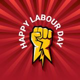 Happy labour day vector label with strong orange fist on red background with rays. labor day background or banner with. Man hand. workers may day poster design Stock Illustration