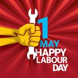 Happy labour day vector label with strong orange fist on red background with rays. labor day background or banner with. Man hand. workers may day poster design Vector Illustration