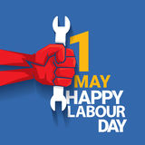 Happy labour day vector label. With strong red fist on blue background. vector happy labor day background or banner with man hand. workers day poster Stock Photo