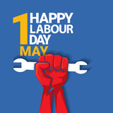 Happy labour day vector label. With strong red fist on blue background. vector happy labor day background or banner with man hand. workers day poster Stock Photography
