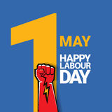 Happy labour day vector label. With strong red fist on blue background. vector happy labor day background or banner with man hand. workers day poster Stock Photos