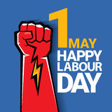 Happy labour day vector label. With strong red fist on blue background. vector happy labor day background or banner with man hand. workers day poster Stock Images