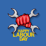 Happy labour day vector label. With strong red fist on blue background. vector happy labor day background or banner with man hand. workers day poster Royalty Free Stock Images