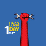 Happy labour day vector label. With strong red fist on blue background. vector happy labor day background or banner with man hand. workers day poster Stock Image