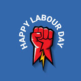 Happy labour day vector label. With strong red fist on blue background. vector happy labor day background or banner with man hand. workers day poster Royalty Free Stock Image