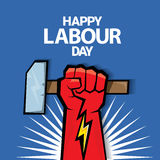 Happy labour day vector label. With strong red fist on blue background. vector happy labor day background or banner with man hand. workers day poster Royalty Free Stock Photos