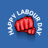 Happy labour day vector label. With strong red fist on blue background. vector happy labor day background or banner with man hand. workers day poster Royalty Free Stock Photo