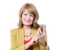 Happy lady calling via mobile Stock Image