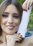 Happy lady with diploma Royalty Free Stock Photos
