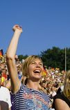 Happy lady fan Stock Photo