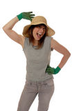 Happy lady gardener Stock Image