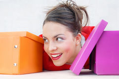 Happy lady with gift boxes Stock Photography