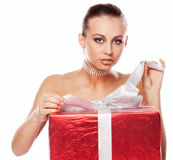 Happy lady with gifts Stock Photo