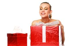 Happy lady with gifts Royalty Free Stock Photos