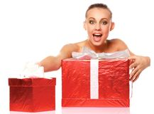 Happy lady with gifts Royalty Free Stock Image