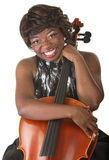 Happy Lady Holds a Cello Stock Photography