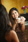 Happy Lady Holds Coffee Mug Stock Photos