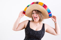 Happy Lady with Mexican Sombrero Looking at Camera Stock Photos