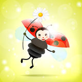 Happy ladybug with daisy, illustration Stock Photo