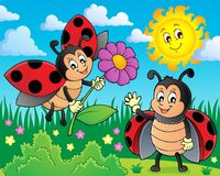 Happy ladybugs on meadow image 1. Eps10 vector illustration stock illustration