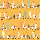 Happy lama seamless pattern Stock Image