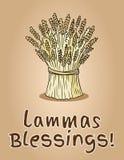 Happy Lammas Blessings. Sheaf of wheat. Hay bundle postcard vector illustration