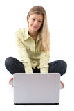 Happy with laptop Stock Image