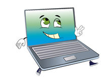 Happy laptop cartoon Stock Photos